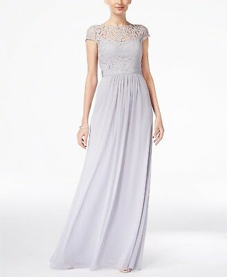 $279 Adrianna Papell Womens Gray Lace Illusion Scoop-Neck Gown Dress Size 16