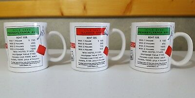 Monopoly Coffee Mugs Cups Lot of 3 Property Cards Hasbro Microwave Safe
