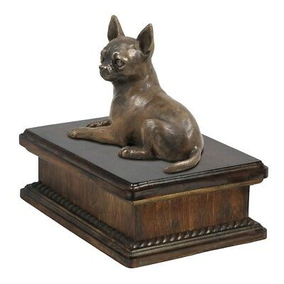 Chihuahua lying - exclusive wooden urn for dog's ashes, Art Dog AU