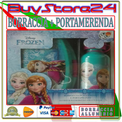 Set Kit Bimbo Porta Merenda + Borraccia Alluminio Frozen Asilo Originale Child