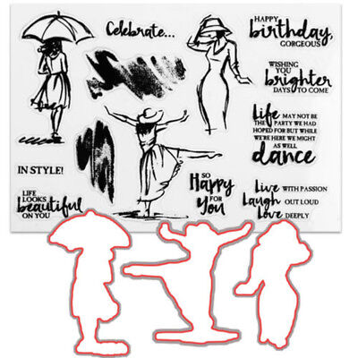 BL_ HK- Dancing Women Clear Stamps & Cutting Dies For DIY Scrapbooking Décor No