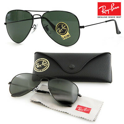 Authentic Ray Ban Aviator Rb3025 L2823 58Mm Green G-15 Lens Black Frame