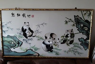 large vintage signed panda embroidery silk on silk  faux bamboo style gilt frame