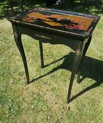 Antique Oriental Ebonised Hand Painted motherof pearl inlayOccasional Side Table