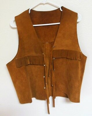Brown Sueded Leather Fringe Vest from Spain Mens S/M