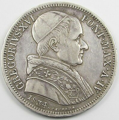 ITALY (PAPAL STATES) - GREGORY XVI 50 BAIOCCHI SILVER COIN dated 1834 (SCARCE)