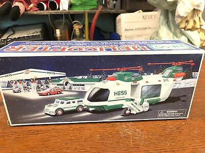 2001 Hess Toy Helicopter With Motorcycle And Cruiser - New In Box