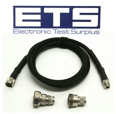 Armored Low Loss Type N Male To Female 6' Coax Cable w/ 2 Type N To 7/16 Adapter