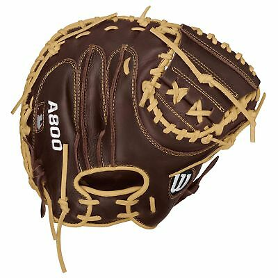 MLB Wilson A800 Showtime Guanto da Baseball Catcher Ricevitore Marrone Unisex