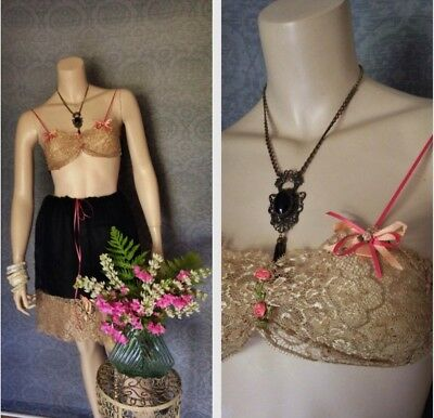 1920s Gatsby Era Black Silk And Lace Bralette And Tap Pant Step In Set
