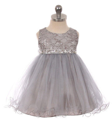 New Silver Flower Girls Dress Pageant Wedding Party Baby Christmas Easter Fancy