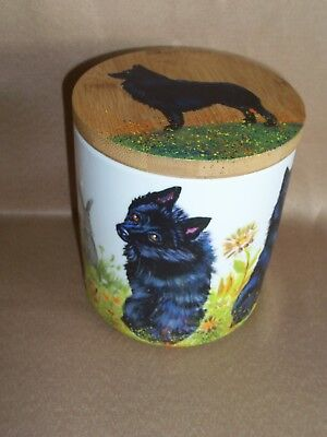 HP Schipperke porcelain jar w/ wood lid container painting hand painted dog art