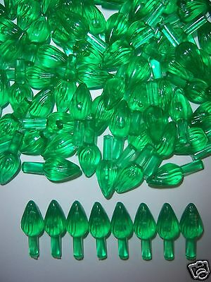 100 GREEN MEDIUM TWIST BULBS Ceramic Christmas Tree Lights Flame Peg Replacement