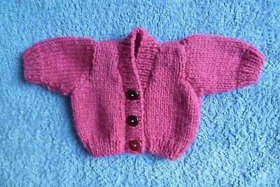 Baby clothes GIRL premature/tiny<3.5lbs/1.6kg NEW! soft dark dusty pink cardigan