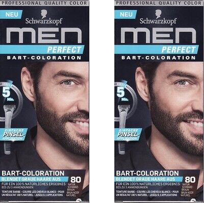 2x Schwarzkopf Men Perfect Bart - Coloration 80 Natur Schwarzbraun