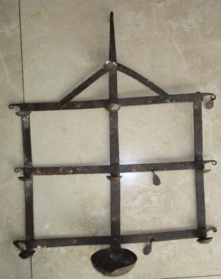Unusual Possibly 18Th Century Hanging Rushlight / Grisset Holder