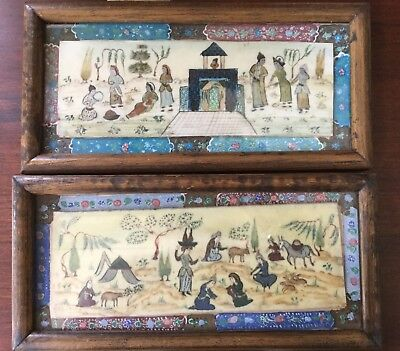 """PAIR Early 20th Century Persian Painting on Bone, Female Domestic Scenes, 4""""x9"""""""