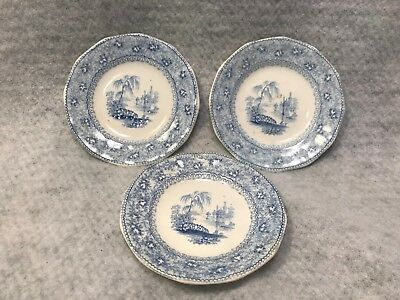 3 1800's Blue White Transferware Butter Pats Staffordshire Victorian