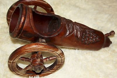 Mission Style Hand Carved Brown Wood Cannon BOTTLE HOLDER Arts & Crafts Romania