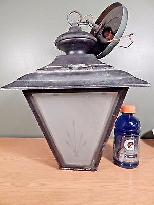 Vintage Large Hanging Porch Light With Etched And Beveled Glass To Restore