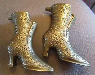 Vintage Pair Of Brass Victorian Ladies Boots   Ashtrays