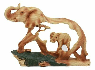 """Safari Bush Elephant And Baby Walking In The Jungle Statue 9""""L Faux Wood Resin"""