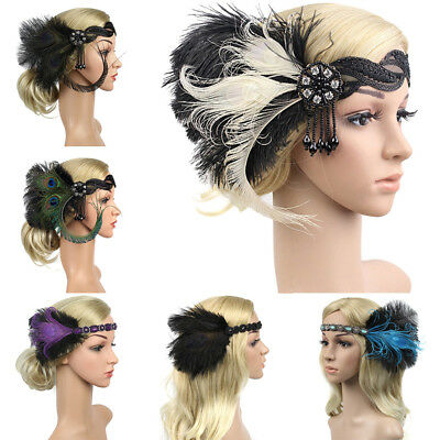 Vintage Headband Feather Bridal Women Headpiece Hairband Hair Accessories 1920s