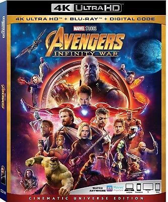 Avengers Infinity War 4K Ultra Hd(4K Ultra Hd+Blu-Ray+Digital)New Free Shipping