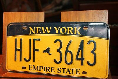 2010 New York Empire State License Plate HJF 3643 (B) BENT