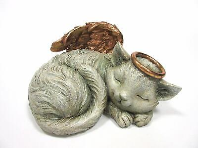 Pet Memorial Angel Cat Sleeping Cremation Urn Statue Bottom Load 30 Cubic Inch