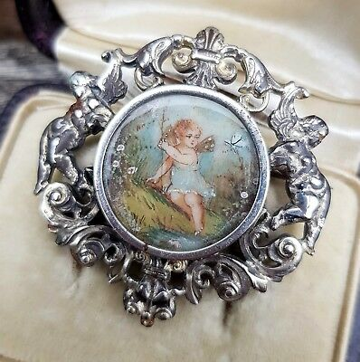 Antique Victorian Silver Ornate Frame Hand Painted Fairy Cherub Butterfly Brooch