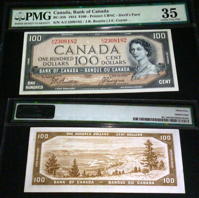 WORLD FAMOUS - DEVILS FACE $100 1954 Bank of Canada -PMG 35- beattie /coyne