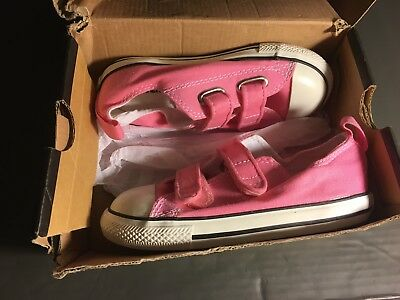 Converse All Star Chuck OX 709447F Strap Canvas Pink Kids Baby Toddler Shoes