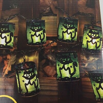 Halloween Glitter Lantern Lights Black Cat 10 Total 6.5ft Lighted Party Decor