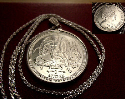 "2014 Isle of Man .999 Silver Angel & Dragon .925 Pendant 24"" Silver Rope Chain."