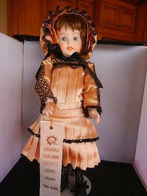 "Award Winning Reproduction 17""  247 Jointed Doll Peach Black Lace"