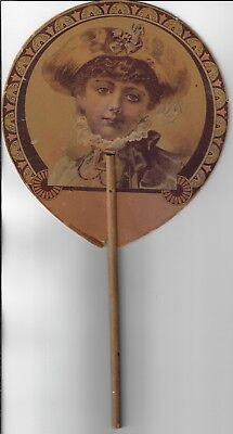 VINTAGE HAND FAN Early 1900's, ROCKFORD IL Dry Goods store. By Ithica Sign Works