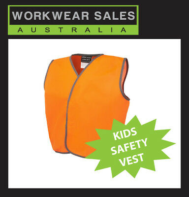 KIDS HI VIS VEST, HIVIS CHILDREN SAFETY VESTS, LIME GREEN or ORANGE.