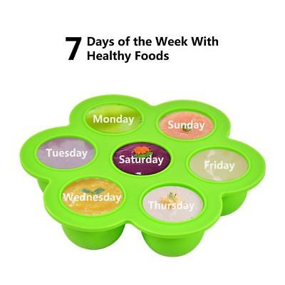 Baby Food Storage Freezer Tray Container With Silicone Clip-On Lid - BPA Free