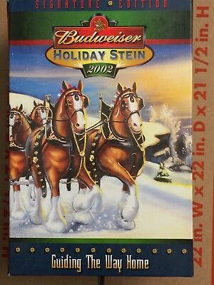 """Budweiser Holiday Stein 2002 """"guiding The Way Home"""" Clydesdales Nib (B)"""