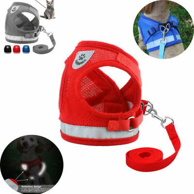 Pet Walking Harness and Lead Adjustable Reflective Strap Vest for Small Dog NEW