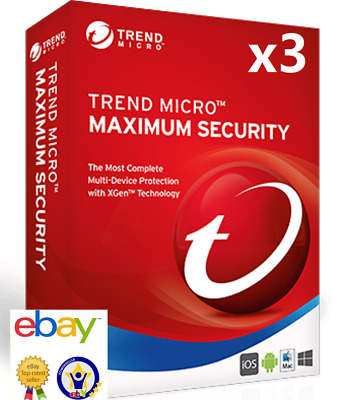 2018 Trend Micro Maximum Security 2018 1 Year 3 PC Android MAC key Brand new ·