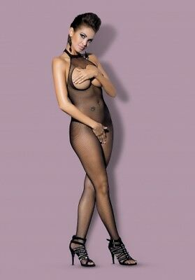 Women's Sexy Body Stocking Body Suit Fishnet Lingerie Halter Mesh Open Crotch