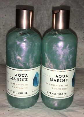 Bath and Body Works Aquamarine 2 in 1 Bubbly Wash and Bath Milk Set Of 2