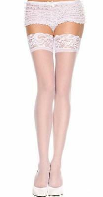 White Thigh High Sheer Stockings Hold Ups Pantyhose Women's Tights Over Knee