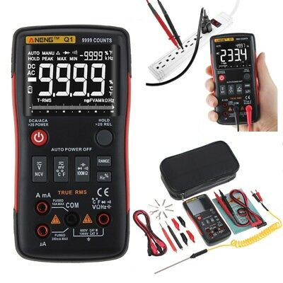 Q1 True-Rms Digital Multimeter Auto Button 9999 Counts Analog Graph Bar Tester