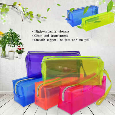 Clear Zipper Stationery Pencil Case Cosmetic Bag Pouch Storage-Free Shipping