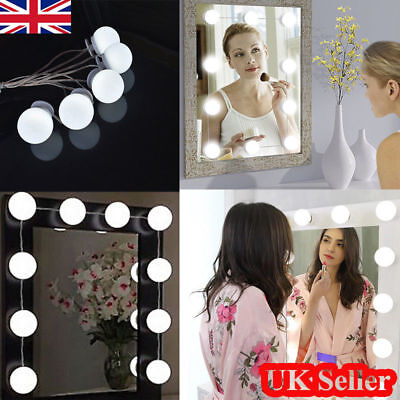 10X LED Vanity Makeup Mirror Dimmable Lights Kit Hollywood Style Table Bulbs UK