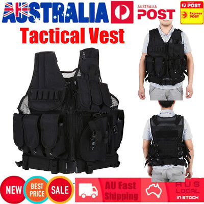 Military Vest Tactical Plate Carrier Holster Police Molle Assault Combat Gear AU