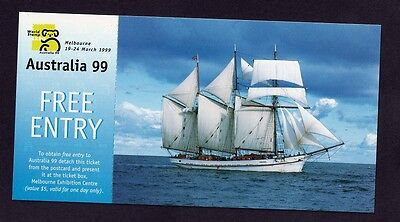 Australia 99 World Stamp Expo Post Card and Entry Ticket